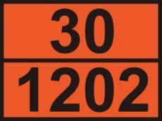 ADR tábla számozott 30/1202 gázolaj