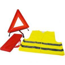 Elakadás jelző háromszög+fluo mellény táskában