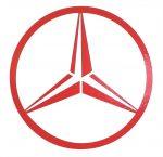Mercedes logó matrica PIROS