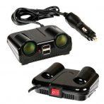 Szivargyújtó és USB elosztó kapcsolóval 12/24V