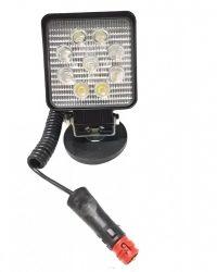 Munkalámpa 9 LED-es (110x110mm) terítő fény, mágnestalpas-szivargyújtós