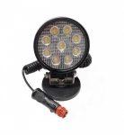Munkalámpa 9 LED-es kerek terítő fény, mágnestalpas-szivargyújtós