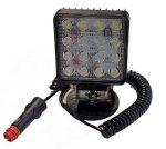 Munkalámpa 16 LED-es (110x110mm) mágnestalpas-szivargyújtós