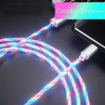 USB TYPE-C telefon töltőkábel 100 cm Világító (zöld)