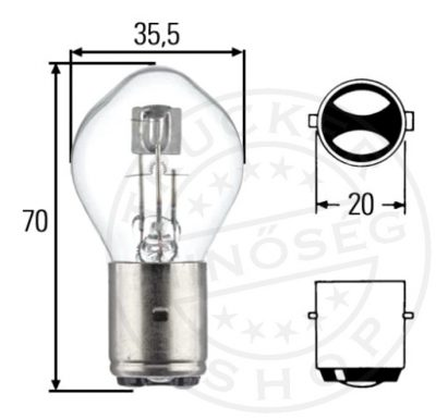 LAMPA S2 Halogén izzó 12V 3535W BA20D IZZÓ, LED LÁMPA